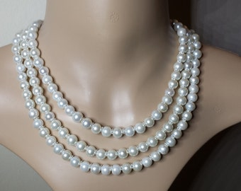 Ivory Pearl Multistrand Necklace