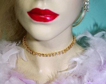 Rhinestone Choker Necklace Earring Set Bridal Jewelry Gold Tone Austrian Crystal