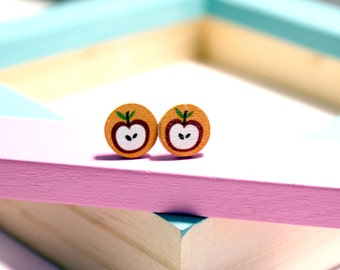 Earrings little Apple wood