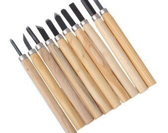 10-piece carving tool set for the processing of wood, soapstone