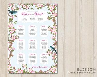 Blossom Table plan - Vertical version -  Digital Printable File - DIY Wedding Table Seating Plan PDF