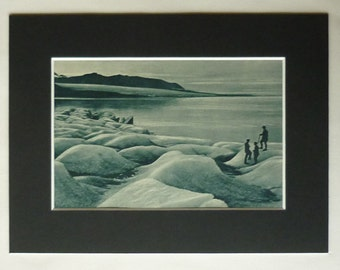 1920s Antique Svalbard Print of the Recherchebreen Glacier, Available Framed, Arctic Art, Spitsbergen Gift, Wedel Jarlsberg Land Decor, Ice