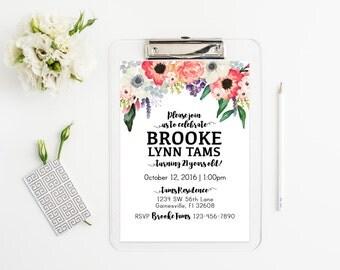 Watercolor Floral Waterfall Invitation - Birthday, Bridal, Baby Shower, Baptism