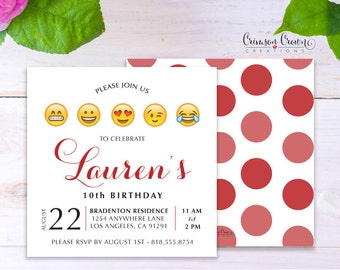 Emoji Child's Birthday Invitation - Baby, Toddler, Kid's Happy Face Birthday Party Invite - Emojis Party - Digital File