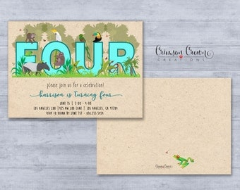 Jungle Number Birthday Invitation - Number Can Be Customized - Rainforest Party Invite - Tropical Animals Invite - Digital File