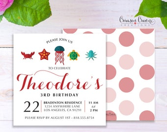Under the Sea Child's Birthday Invitation - Baby, Toddler, Kid's Nautical Birthday Party Invite - Ocean Party - Digital File