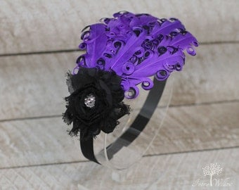 Purple Feather Headband - Purple and Black Feather Headband - Purple Headband- Baby Headband - Adult Headband - Feather Headband