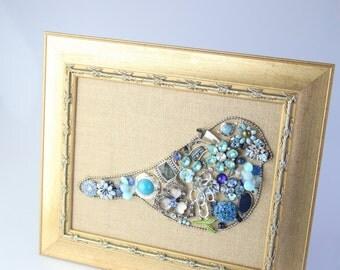 Blue Bird of Happiness Jewelry Art (Framed)