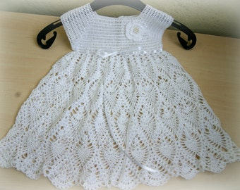Handmade, crochet occasional baby pineapple lace dress, pure cotton, 12-20 month ready to ship, with flower, outfit, christening, baptism
