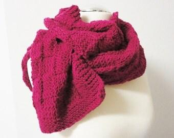 Scarf pink handmade handknitted Winter Autumn