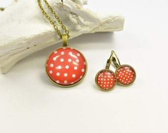 Set jewelry Dots red white