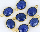 30% Valentines Day Natural Sapphire, Bezel Oval Shape Connector, 10x12mm Oval 24k Gold  Plated, SIngle Bail 1pc. (SH-10080)