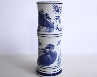 Blue and White Chinoiserie Vase