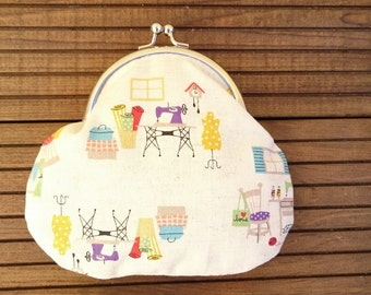 REDUCED Sewing Room Fabric Coin Purse