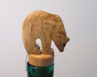 Wood Jewel Carved Bear Bottle Stopper designed by Kauko Rastiniemi made in Finland