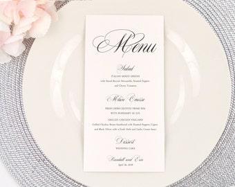 PRINTED Wedding Menu, Dinner Menu, Reception Menu, Ivory, Scroll, Calligraphy, Script, Romantic, Elegant, Classic Script Design