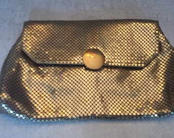 Whiting and Davis Gold Tone Clutch