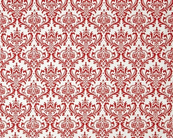 Madison Lipstick on White Premier Prints Fabric - One Yard - Red and White Damask Home Decor Fabric