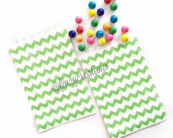 Chevron Favor Bag--(12) GREEN CHEVRON Favor Bags Green Chevron bag (5x7):Popcorn bag, boutique/bakery bag, Green Wedding, Pink Green Shower