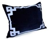Throw Pillow Cover -Navy Blue Pillow -Decorative Pillow -Greek Key Trim Applique Pillow -Velvet Pillow -Navy White Pillow -Christmas Gift