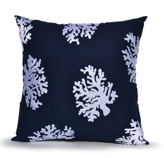 Etsy Navy Throw Pillow : Items similar to Coral Decorative Pillow Cover, Navy Blue Cotton Throw Pillow Case, Hand ...