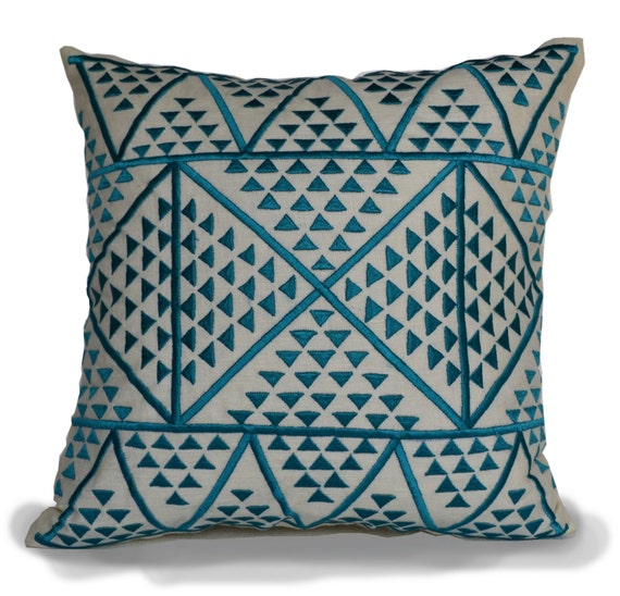 Decorative Pillows Linen : Aztec Decorative Pillow Cover Embroidered Blue Ivory Linen