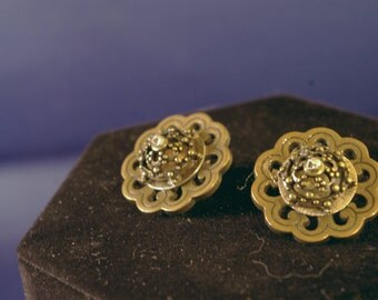 Brass Dome Button Post Earrings