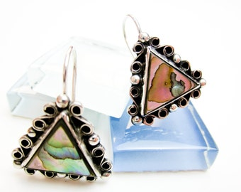 Abelone Shell 1960s Earrings Sterling Silver Made in Taxco Mexico, Vintage Hallmarked.