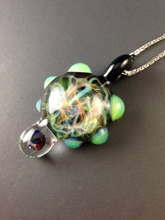 silver gold fumed glass chaos pendant slyme by