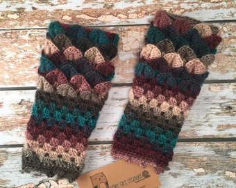 Dragon Scale Fingerless Gloves Mitts Dragon tears