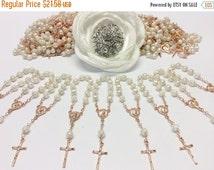 10%off weekend sale 30 pcs Pearl Rosaries, Rose Gold, Baptism, First communion favors Recuerditos Bautizo 30/ Mini Pearl Rosary Baptism Favo