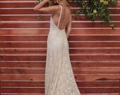 Lace Backless Wedding Dress. Plunge Scallop Front. LOW BACK wedding dress. simple elegant bohemian wedding dress. IVORY lace.