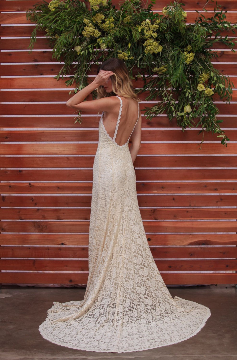 Lace backless wedding dress plunge scallop front low back zoom junglespirit Gallery