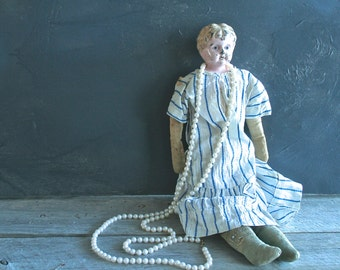 Beautiful Antique Minerva German Doll with Tin Head, Chippy, Rustic, Collectible