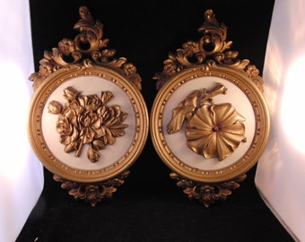 Vintage flowers wall plaques (2 plaques)