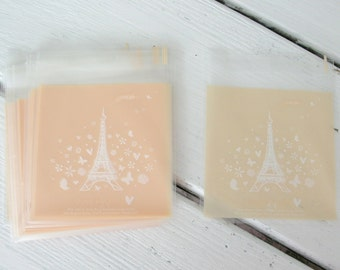 25 Light Peach Eiffel Tower Cellophane Bags Party Favor Bags Treat Bags Gift Bags Biscuit Bags