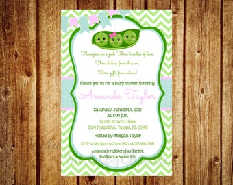 Peas in a Pod Twins or Triplets (any combo of gender) Baby Shower Invitation- Digital File Printable- Peas in a Pod Baby Shower Invitation