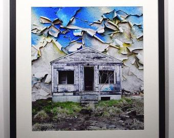 Fine Art Photo Montage, Urban Decay, Abandoned House, Wall Art, Peeling Paint, Fine Art Print, Wall Decor, Home Decor