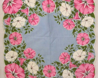 Vintage Woman's Hankie Pink and White Morning Glories on Blue Gorgeous!!