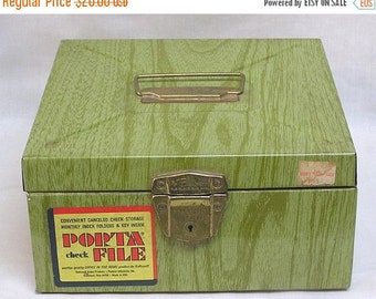 ON SALE Vintage Tin Porta File Box for Cancelled Checks Circa 1960s-70s