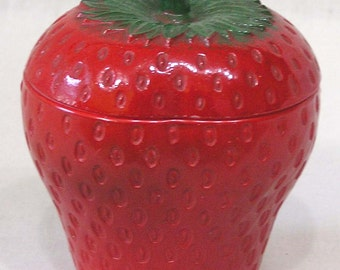 Vintage Milk Glass Covered Figural Strawberry Jar