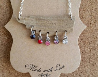Driftwood Crystal Droplet Necklace-Pink/Purple