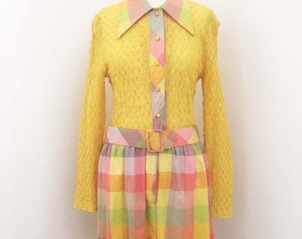 Vintage Summer Yellow and Plaid 60s Dress