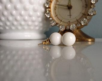 Simple Milk Glass Ball Earrings