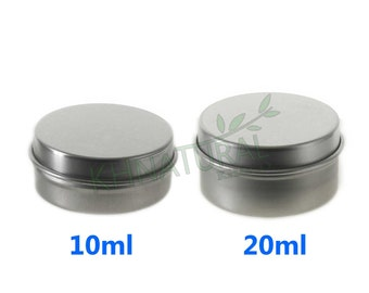10X Empty Cosmetic Pots Lip Balm Container Jar Silver Aluminum Tins 10ml 20ml