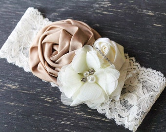 Tan ivory Vintage rolled Couture headband, baby headband,vintage Couture headband , Photo prop, Vintage headband , Girl headband
