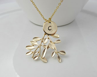 Branch Necklace, Gold Necklace, Initial Branch Necklace, Olive Leaf Necklace, British Seller UK, Gifts for Girls, Woodland Gifts, BFF Gifts