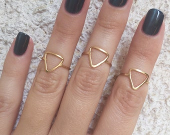 Gold ring, Triangle knuckle ring, Gold filled knuckle ring, Simple ring, Geometric ring