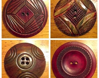 Set of 4 red tint buttons, Vintage Celluloid Disc, Wafer Buttons, large size buttons, Button lot 5