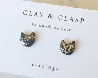 Gold Leaf Polymer Clay Cat stud earrings